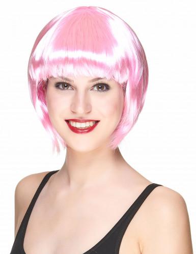 Roze korte cabaretpruik voor vrouwen