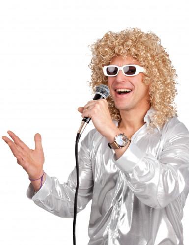 Gekrulde blonde pruik met witte bril voor mannen