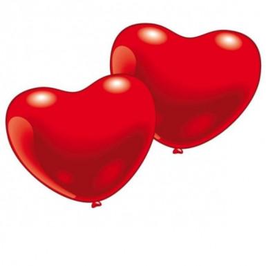 10 rode hartvormige ballonnen