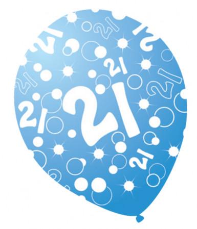6 blauwe paarlemoeren leeftijdballons