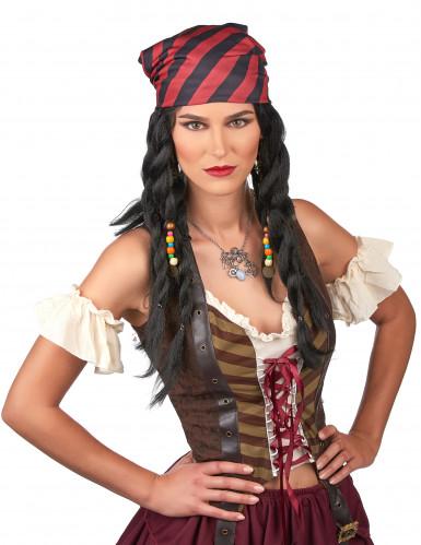 Zwarte piraat pruik voor volwassenen-1