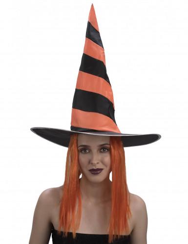 Oranje Halloween heksenpruik met hoed voor vrouwen