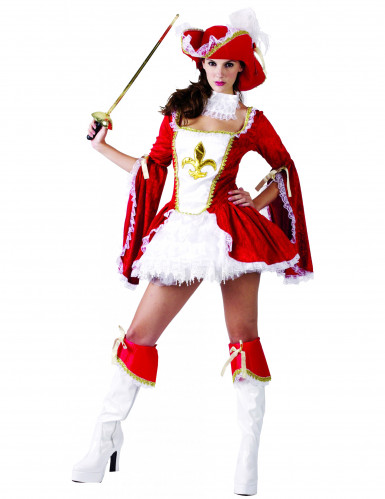 Sexy rood en wit musketier kostuum voor vrouwen