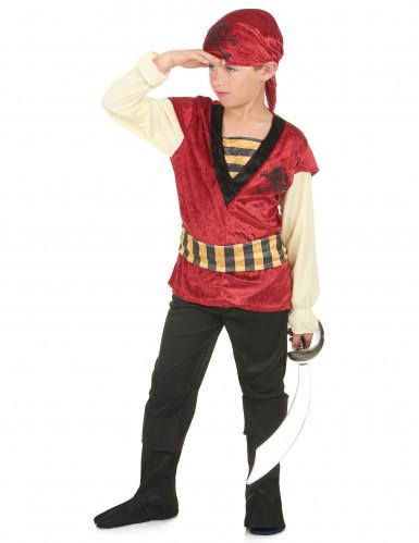 Rood en goudkleurig piratenkostuum voor jongens-1