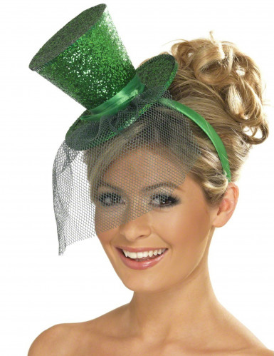 Mini hoge hoed in het groen met lovertjes en sluiertje