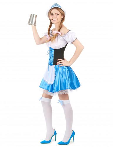 Blauw Oktoberfest dirndl jurk voor vrouwen-1