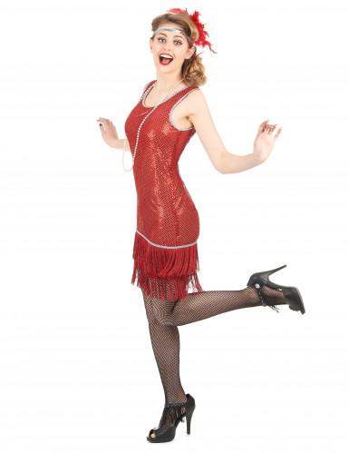 Rood charleston kostuum met lovertjes voor vrouwen-1