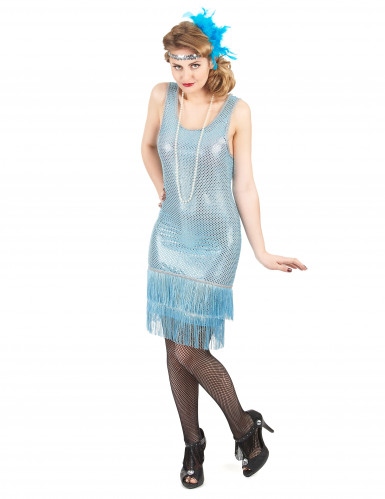 Blauw charleston kostuum voor vrouwen
