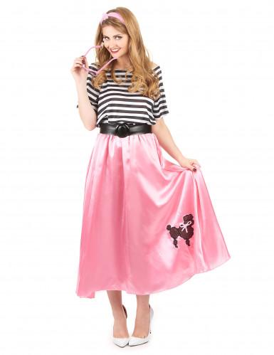 Jaren 50 roze retro kostuum voor vrouwen