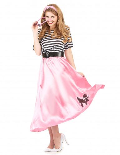 Jaren 50 roze retro kostuum voor vrouwen-1