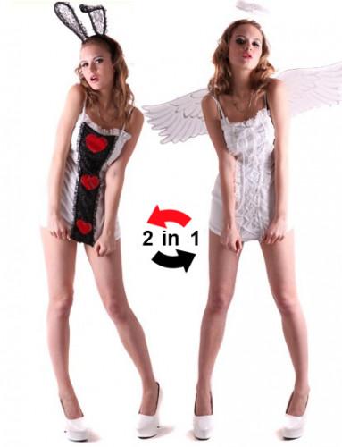 Omkeerbaar pak engel en konijn voor dames