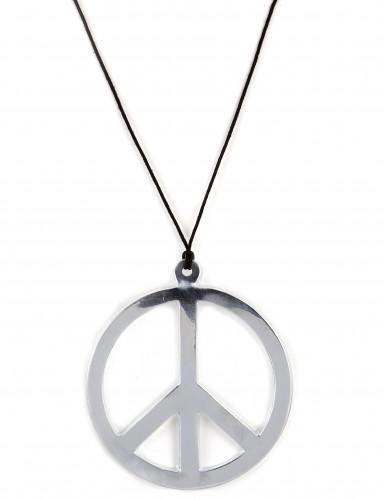 Reuze zilverkleurige hippie halsketting