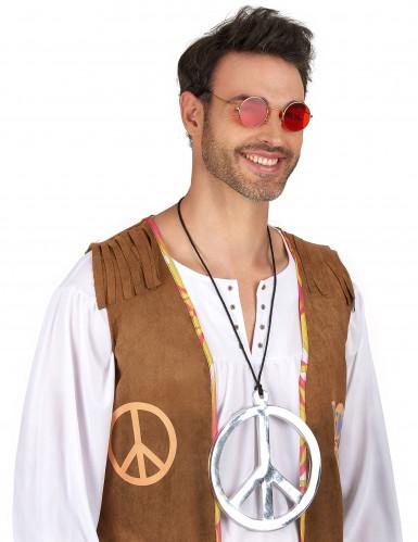 Reuze zilverkleurige hippie halsketting-1