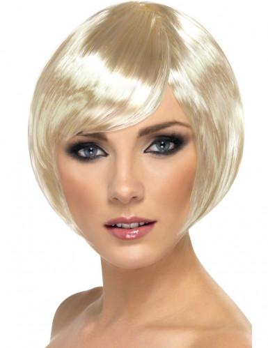 Blonde halflange cabaretpruik voor dames