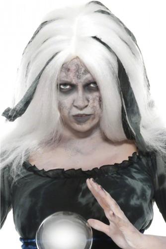 Witte halloweenpruik van waarzegger voor vrouwen