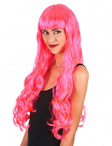 Lange candy roze pruik voor dames