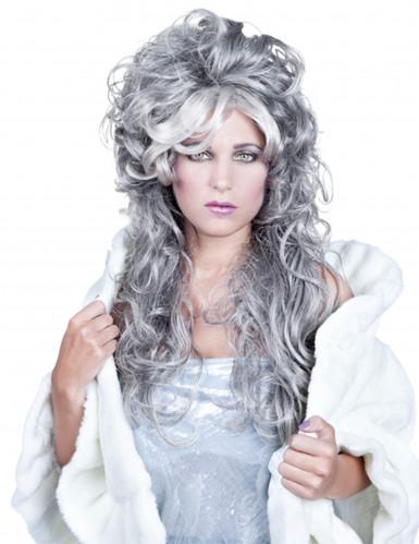 Lange golvende grijze pruik voor dames