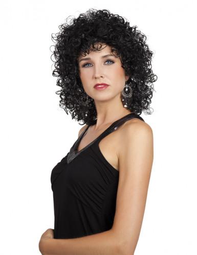 Pruik krullend zwart voor dames