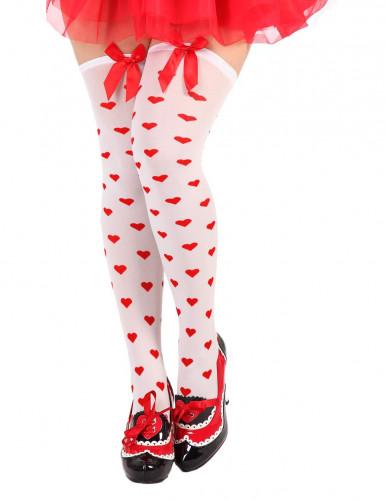 Witte dameskousen met rode hartjes.