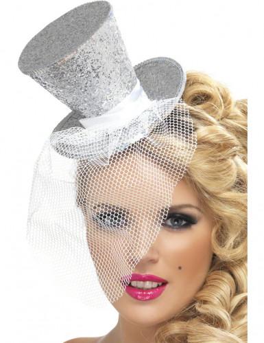 Mini zilverkleurige hoge hoed voor vrouwen