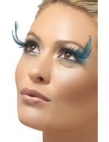 Blauwe valse wimpers met pluimen (voor vrouwen)