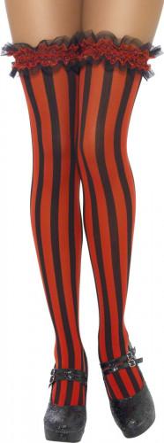 Rood-zwart gestreepte kousen voor volwassenen