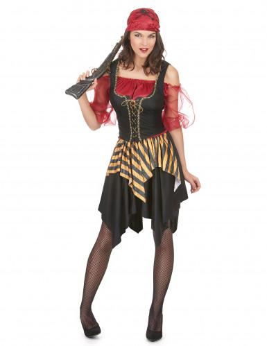 Zwart rood en goudkleurig piratenkostuum voor vrouwen