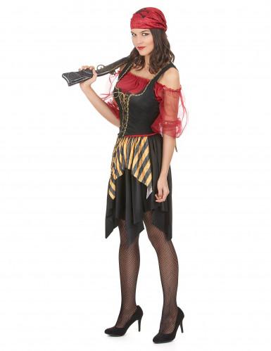 Zwart rood en goudkleurig piratenkostuum voor vrouwen-1