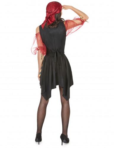 Zwart rood en goudkleurig piratenkostuum voor vrouwen-2