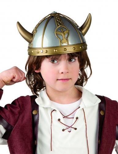 Blauw met gouden viking helm met horens