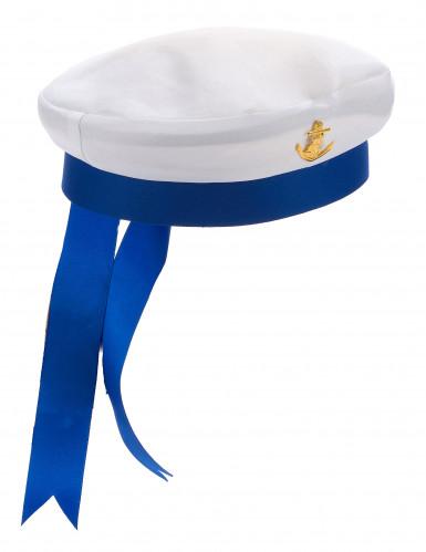 Blauwe en witte matrozen pet voor volwassenen