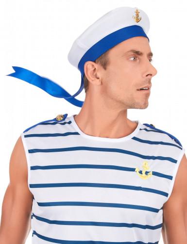 Blauwe en witte matrozen pet voor volwassenen-2