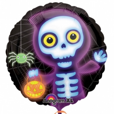 Neon skelet folie ballon