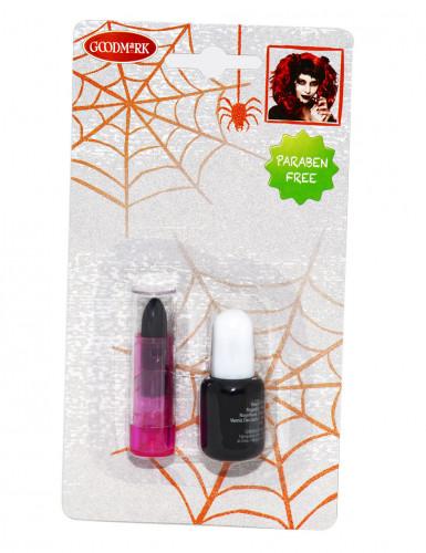 Zwarte nagellak en lippenstift voor volwassenen parabenenvrij-1