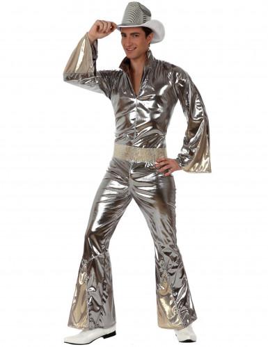 Zilverkleurig glanzend discopak voor mannen