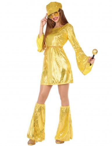 Goudkleurige disco-outfit voor vrouwen