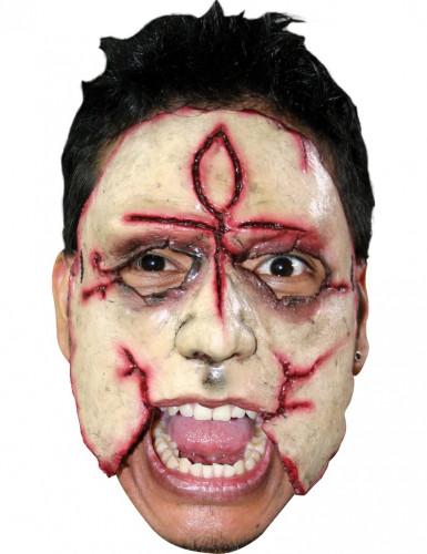Masker van een moordenaar met een kruis voor volwassenen Halloween