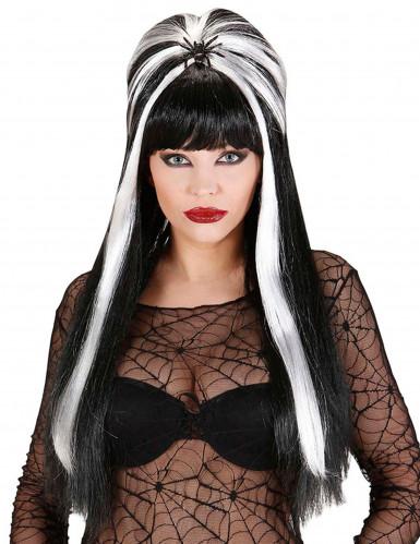 Zwart-witte halloweenpruik voor volwassenen