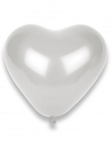 10 witte ballonnen in de vorm van een hart
