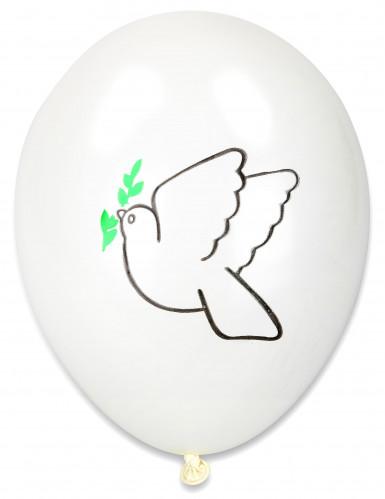 10 ballonnen met vredesduif