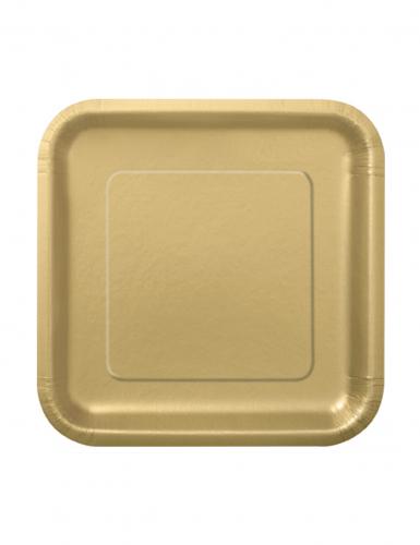 16 kleine goudkleurige kartonnen borden