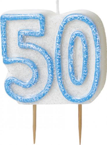 Kaars 50 in het blauw
