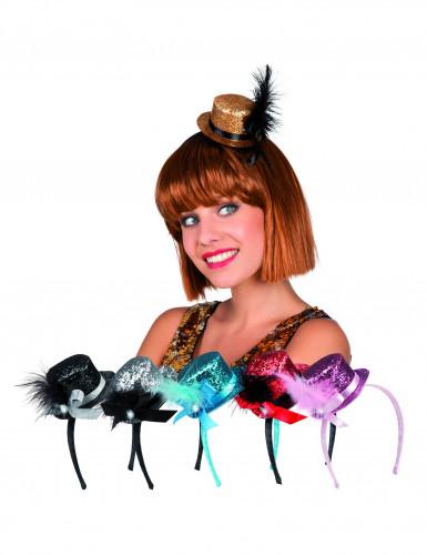 Mini-dameshoed met glitters voor volwassenen