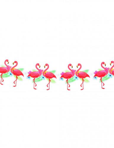 Kartonnen slinger met Hawaï-vlagjes met roze flamingo