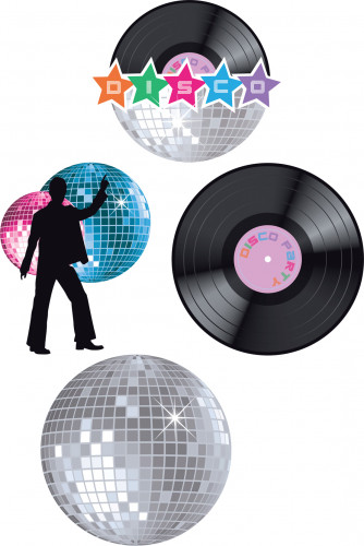 Disco wand decoraties 4 stuks