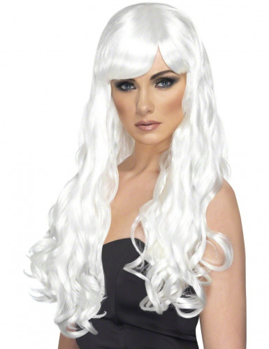 Lange witte pruik met golven voor dames