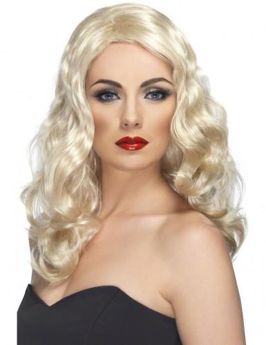 Lange blonde damespruik