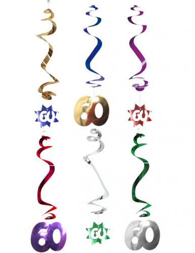 6 spiraalvormige 60 jaar hangdecoraties