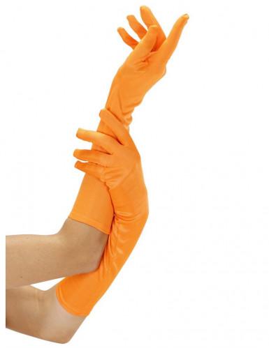 Lange fluo-oranje handschoenen