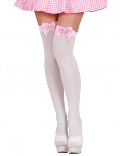 Witte kousen met roze ruitjesstrikken voor volwassenen
